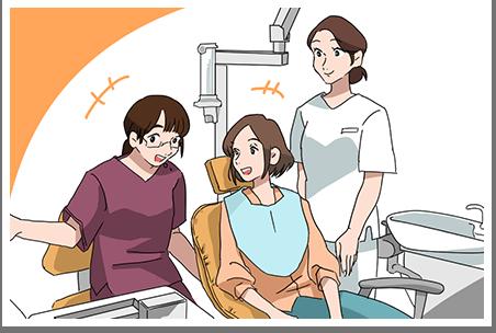 よしむら家の母が歯科治療を受ける絵